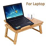 Songmics Natural Bamboo Laptop Table Folding Table Notebook Laptop Table with Drawers LLD01N