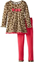 Young Hearts Girls 2-6X 2 Pieced Leopard Print Bow Pullover and Pant, Beige, 4