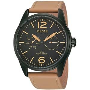 Pulsar Quartz PW5011 Black Dial Brown Leather Band Mens Watch: Pulsar