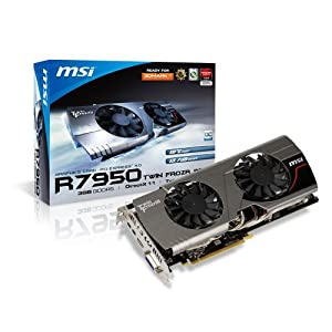 MSI AMD Radeon HD 7950 3GB GDDR5 DVI/HDMI/2xMini DisplayPort PCI-Express Video Card R7950 TWIN FROZR 3GD5/OC