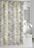 Kassatex Paisley Shower Curtain, Yellow/Grey, 72 by 72-Inch