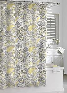 Kassatex Paisley Shower Curtain Yellow Grey 72 By 72 Inch Home Kitchen