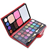 ShineMore All in one - 33 Colors Makeup Palette Cosmetic Set Eyeshadow Powder Eyebrow Blusher Foundation Makeup Combo With Brushes and A Nice Leather Case (Red Case)