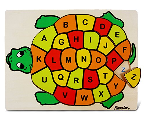 Puzzled Kids Playschool Preschool Raised Puzzle Abc Turtle Wooden Toys