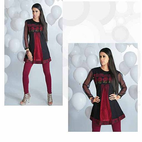 Ladies Cotton Blended and chiffon embroidered  work tops / tunics / kurta