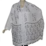 White Cotton Dupatta with Beads Clothing Accessory from India 102 x 209 cmsby DakshCraft