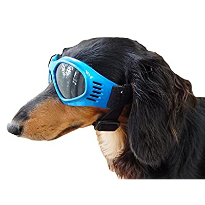 ShanTrip ペット用 サングラス 紫外線 カット 乗り物酔い 防止にも (青, M)
