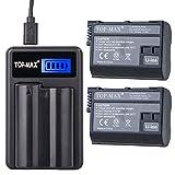 TOP-MAX 2X Fully Decoded EN-EL15 Battery + Rapid USB Charger for Nikon 1 V1 D810 D610 D750 D800E D810A D800 D7200 D7100 D750 D600 D7000 Digital SLR Camera