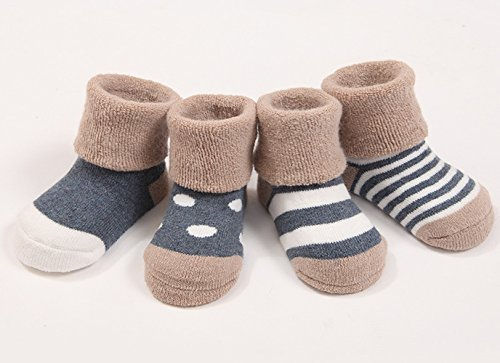 Cuca Dunna Infant Baby Toddler Socks For Girls And Boys,Cute socks 4 Pairs (Winter S 6-12months, Blue)