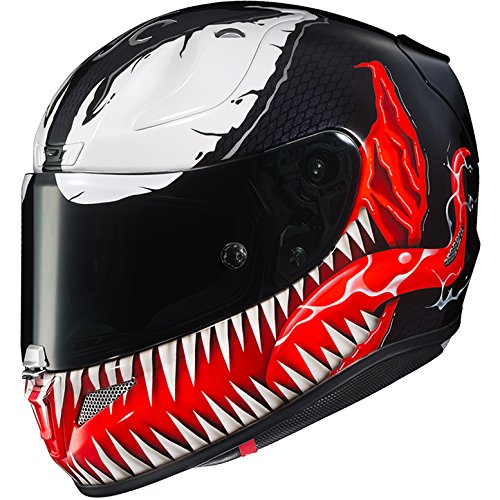 HJC Helmets Marvel Unisex-Adult Full-Face Helmet (Black/Red/White, X-Small) (RPHA-11 Pro Venom MC-1)