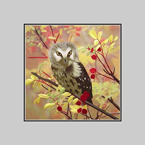 King Silk Art 100% Handmade Embroidery Multiple Unframed Brown Tree Owl Unframed Wall Art Gift 31030NW