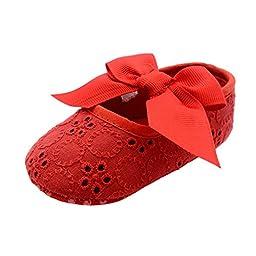Bohai Infant Girls Cotton Ribbon Bowknot Soft Bottom Flower Prewalker