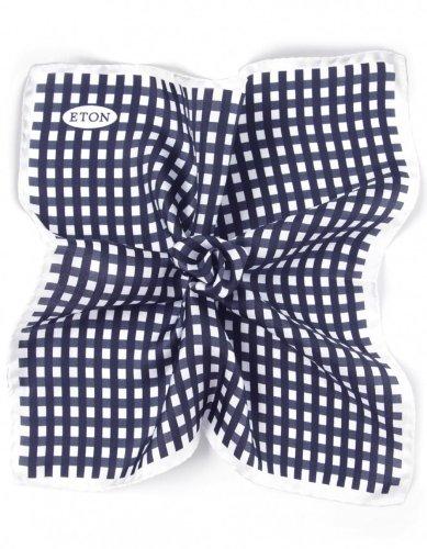 Eton Gingham Silk Handkerchief NVY/WTE
