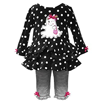 Size-9M RRE-50941F 2-Piece BLACK WHITE DOTS STRIPES 'Winking Ghost