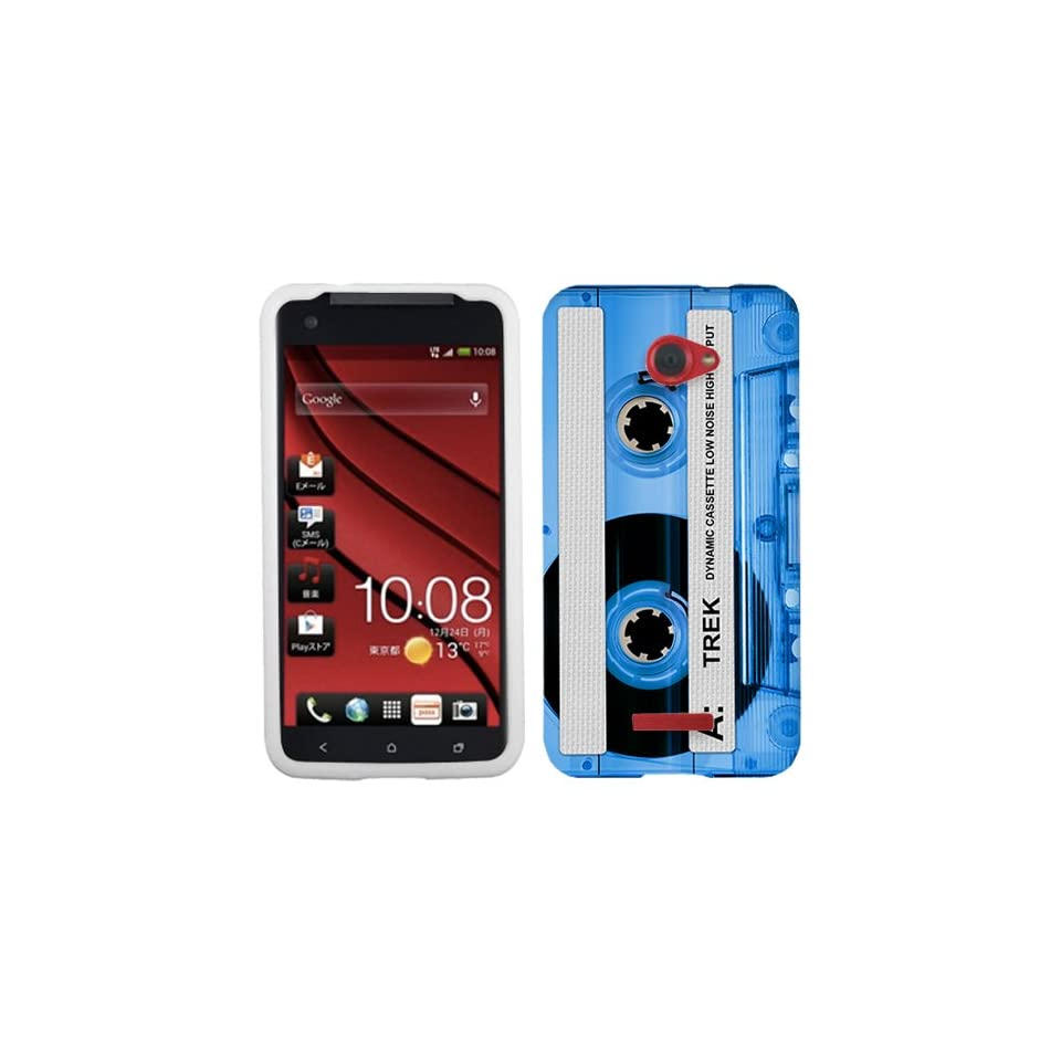 HTC DROID DNA Retro Clear Cassette Tape Blue Phone Case Cover