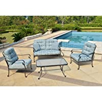 Mainstays Willow Springs 4-Piece Patio Conversation Set, Blue, Seats 4 by Mainstays
