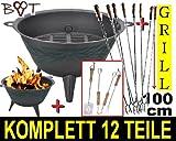 Stabiler Grill Feuerschale + 8 Wursthalter je 1 m lang! (Achtung kein Teleskop zum Ausziehen, sondern feste (stabile) Form aus gedrehtem Stahl) ideal für Camping, Freizeit, Lagerfeuer, Grillfest, Gartenparty, Geburtstag, Outdoor, usw. Grill Garten Feuerstelle