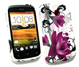 Emartbuy® HTC Desire C Gel Skin Cover Purple Bloom