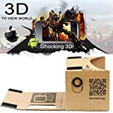 Google Cardboard Kit by D-scope Pro 3D Virtual Reality Compatible with Android & Apple Easy Setup Instructions Machine Cut Quality Construction 45mm Lenses HD Visual Experience Includes QR Codes