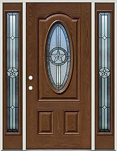 Fiberglass front door with sidelites 3 4 oval texas star 60 patina