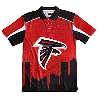 KLEW NFL Atlanta Falcons Polyester Short Sleeve Thematic Polo Shirt, Black, Large