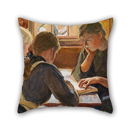 18 X 18 Inches / 45 By 45 Cm Oil Painting Halonen, Pekka - Children Reading Pillowcase ,twin Sides Ornament And Gift To Christmas,bench,divan,monther,club,deck Chair (Fitted Sheet Split King Power Bed compare prices)