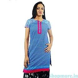 ShopMore Cotton Kurta(Blue_Small)