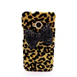 Deluxe Black 3D Diamante Bow Gold Leopard Shiny Case Cover for HTC ONE M7 NEW