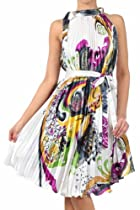 FOPleatSatinPais3009 Satin Pleated Short Sleeveless Dress with Paisley Design - White / Yellow One Size