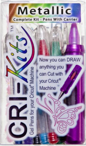 Cricut Gel Pens by Cri-kits Metallic 10ct Assorted Colors Includes Holder-Plus Bonus Gift A Cricut Pin