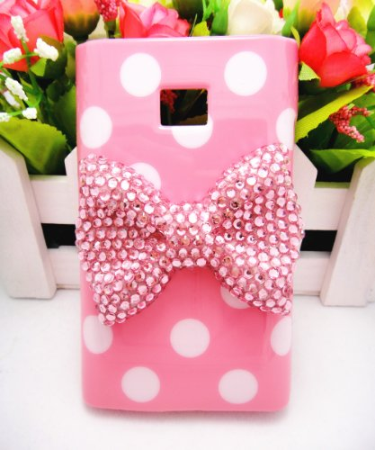 Cute 3D Bling Pink Bow White Dot Pattern Case Cover For LG Mobile Smart Phones (Pink, LG Optimus Logic L35g Dynamic L38c)