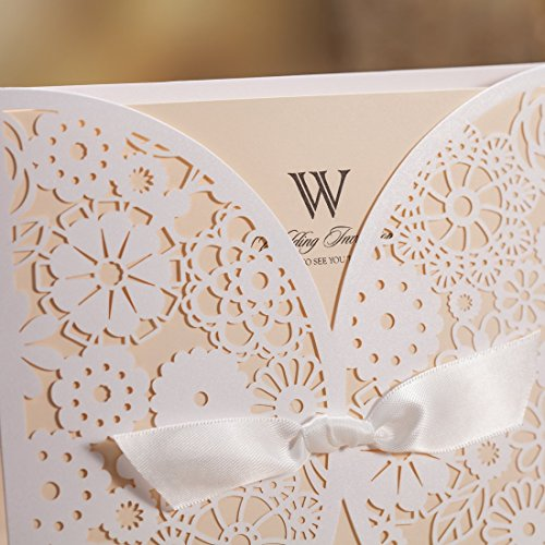 Wishmade 50x Laser Cut Trifold Lace Sleeve Wedding Invitations Cards Kits for Wedding Engagement Bridal Shower Baby Shower Birthday Quinceanera Graduation Paper with Bow(set of 50pcs) 3