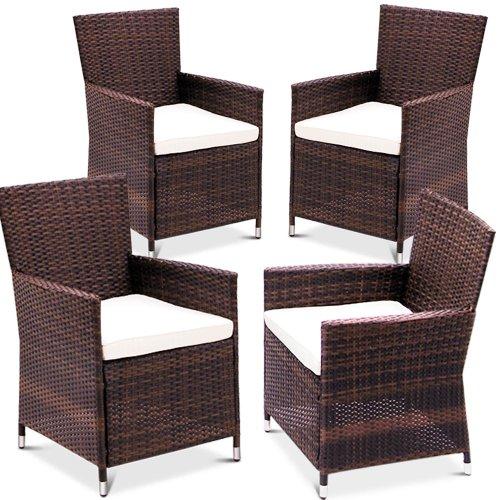 Miadomodo rtst04 4braun rattan sedie set da 4 marrone for Sedie in rattan per esterni