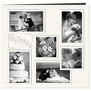 """Pioneer 12-Inch by 12-Inch Collage Frame Embossed """"Wedding"""" Sewn Leatherette Cover Memory Book, Ivory"""