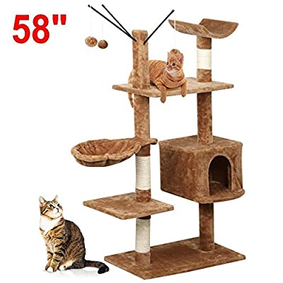 Beyondfashion Kitten Cat Tree Scratching Post Activity Centre Brown