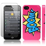 iPhone 4S / iPhone 4 Comic Capers BOOM Pink/Blue/Yellow Hard Back Cover Case / Shell / Shield + Screen Protector By Creative 11by Creative Eleven