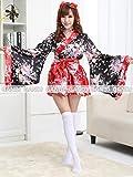 豪華 花魁 浴衣 着物ドレス 花魁ドレス 和服コスプレ コスチューム 帯付き コスプレ (L, 赤)