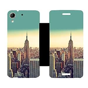 Skintice Designer Flip Cover with Vinyl wrap-around for HTC Desire 728G, Design - NewYork