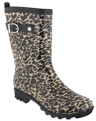 Capelli New York Shiny Leopard Printed Ladies Jelly Rain Boot