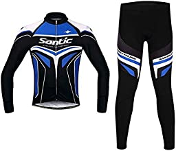 Santic Mens Cycling Jersey Long Sleeved Jersey Suits Tight Version Red  M