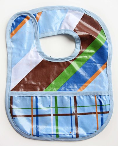 Caden Lane Boutique Collection Coated Bib, Blue Diagonal Stripe