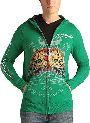 Ed Hardy Mens Racing Skull Zip Up Hooded Sweater - Grass - Large