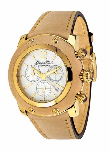 Glam Rock 0.96.2059 - Reloj analógico de cuarzo unisex, correa de cuero color beige
