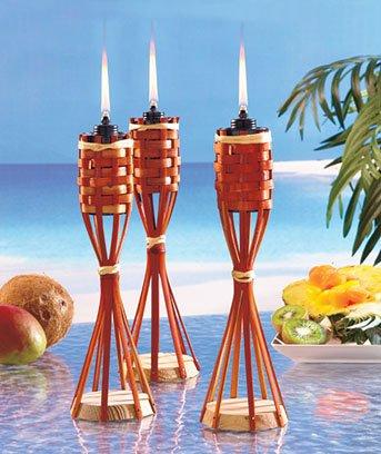 Tiki Lights Bamboo Tabletop Lights Set of 3