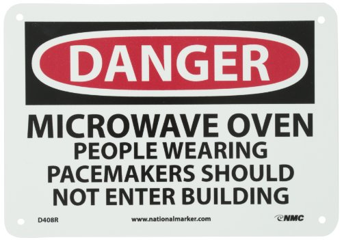 "Nmc D408R Osha Sign, Legend ""Danger - Microwave Oven People Wearing Pacemakers..."", 10"" Length X 7"" Height, Rigid Plastic, Black/Red On White"