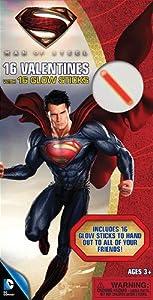 Paper Magic Superman Deluxe Valentines with Bonus Glowstick (16 Count)