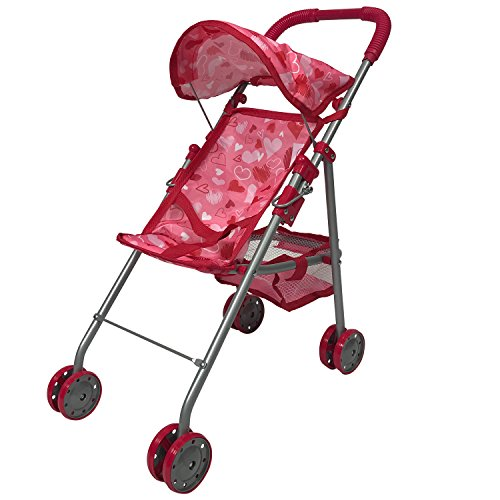Pink Hearts Designed Small Doll Stroller