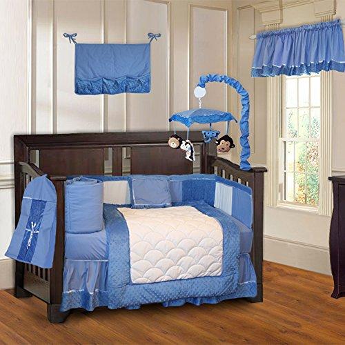 BabyFad Minky Blue 10 Piece Baby Crib Bedding Set