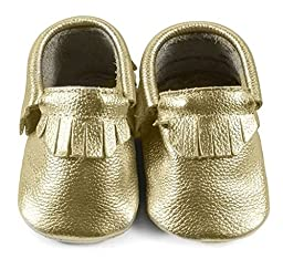 Baby Moccasins, The Coral Pear Classic Moccasin, Genuine Leather Shoes for Babies & Toddlers, Platinum, Size 1M (Babies & Toddlers)