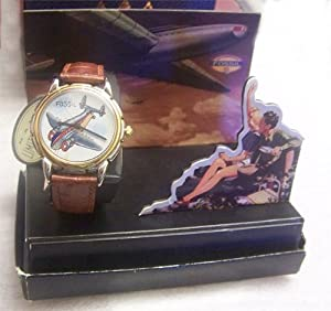 Fossil Hand Painted Watch Airplane on Canvas with Display LE-9400